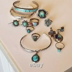 Vintage Navajo Sterling 6 Turquoise Rings Earrings 3 Bracelets 3 Lapis Necklace