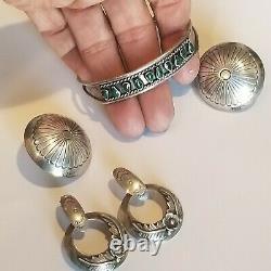 Vintage Navajo Sterling 925 2 Earrings Set Pierced Green Turquoise Cuff Bracelet