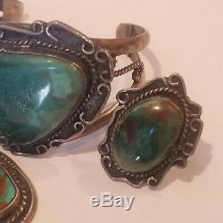 Vintage Navajo Sterling Silver 925 Turquoise Earrings Ring 7 3/4ths Bracelet Set