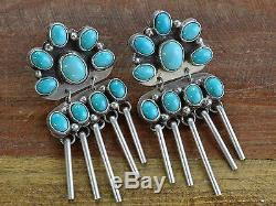 Vintage Navajo Sterling Silver And Turquoise Cluster Statement Earrings