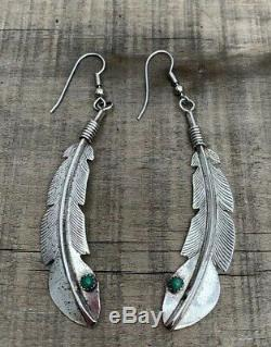 Vintage Navajo Sterling Silver And Turquoise Feather Earrings Stamped