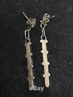 Vintage Navajo Sterling Silver Dangle Earrings Turquoise Needle Point 2'' Long