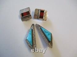 Vintage Navajo Sterling Silver Earrings Large Chunky Turquoise Tribal Stone 2