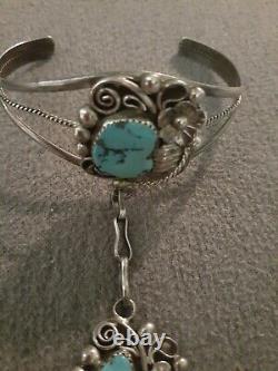 Vintage Navajo Sterling Silver Turquoise Slave Gypsy Cuff Bracelet Jameson Lee