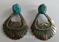 Vintage Navajo Sterling Turquoise Earrings