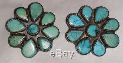 Vintage Navajo Turquoise & Sterling Silver Earrings Signed Oscar Betz Pelosi