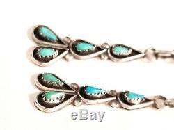 Vintage Navajo Turquoise & Sterling Silver LONG Dangle Drop Earrings 925 Pierced