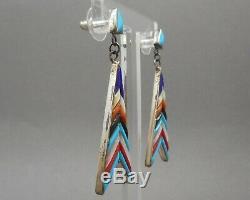 Vintage Navajo Zuni Style Earrings Multi Stone Cobblestone Inlay Sterling Silver