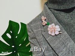 Vintage Nettie Rosenstein Sterling Pink Poured Glass Flower Brooch Earrings Set