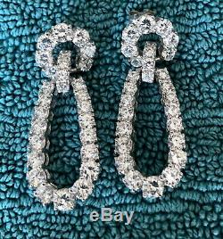 Vintage New Fantasia By Deserio CZ earrings white gold on sterling