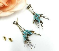 Vintage Norway sterling silver and enamel earrings with bellflower