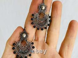 Vintage Oaxacan Filigree Earrings w Onyx. Sterling Silver. Mexico. Frida Kahlo