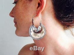 Vintage Oaxacan Silver Earrings Hoops. Sterling Silver. Mexico. Frida Kahlo