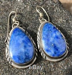 Vintage Old Pawn Navajo Blue Turquoise Sterling Silver Dangle Tear Drop Earrings