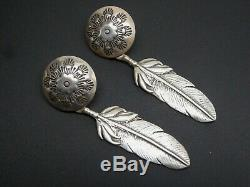 Vintage Old Pawn Navajo Decorative Domed Concho Feather Sterling Post Earrings