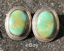 Vintage Old Pawn Navajo Sterling Silver Slab Royston Turquoise Post Earrings
