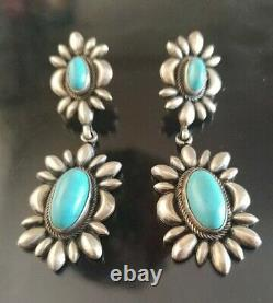 Vintage Old Pawn Sterling Signed Drop Turquoise Earrings