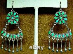 Vintage Old Pawn Zuni Sterling Silver Petit Point Turquoise Drop Dangle Earrings