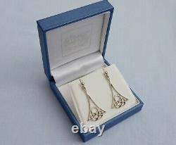 Vintage Omg Ola Gorie Orkney Solid Sterling Silver Celtic Knot Drop Earrings