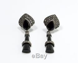 Vintage Onyx Sterling Silver Marcasite Dangle Drop Screw Back Earrings