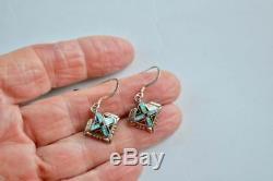 Vintage Opal + Onyx Sterling Silver Zuni Earrings