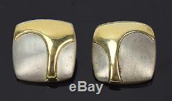 Vintage Pair Earrings Brushed Sterling Silver with Bas-Relief 14k Gold Shapes