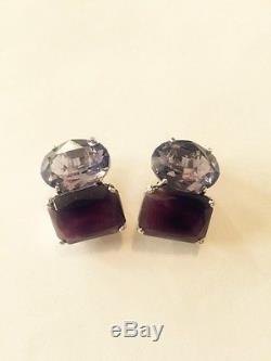 Vintage Pair Of Jarin Sterling Silver Ladies Purple Stone Earrings Beautiful