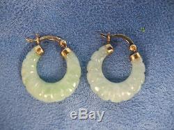 Vintage Pair of Jade Hoop Earrings with Gold Wash Sterling Silver A925 Hooks