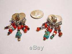 Vintage RARE 60's Artist Joan Slifka 925 Sterling Earrings- A21 Human Traffic %