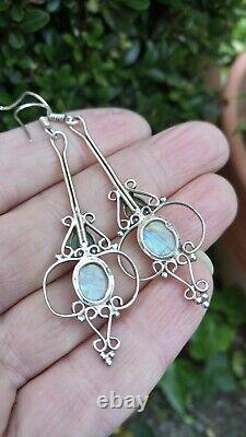 Vintage Rainbow Moonstone & Solid Sterling Silver Art Nouveau Style Earrings