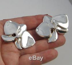 Vintage Rare Huge Angela Cummings Sterling Silver Orchid Flower Pierced Earrings
