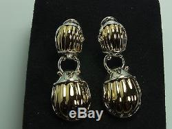 Vintage Rare Tiffany & Co. Scarab Earrings 750 Gold and Sterling Silver Two Tone