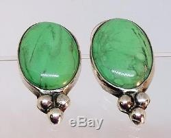 Vintage Rebecca Collins Sterling Silver Polished Green Turquoise Post Earrings