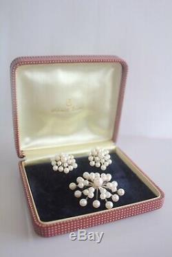 Vintage Retro Space Age Mikimoto Pearl Sterling Brooch & Earrings