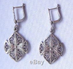 Vintage Russian Filigree Sterling Silver 925 22K Soviet Star Dangle Earrings