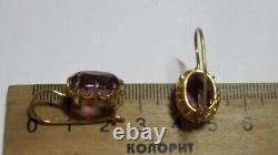 Vintage Russian Soviet Earrings Sterling Silver 875 Alexandrite, Women's Jewelry