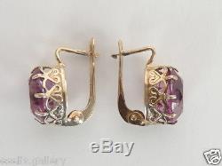 Vintage Russian USSR Sterling Silver Change Color Alexandrite Women Earrings