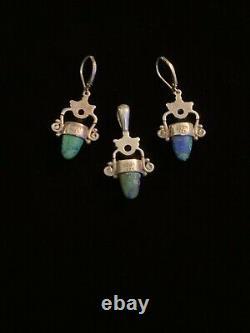Vintage SAJEN 925 Sterling Silver Azurite Amethyst Pendant Earrings Set