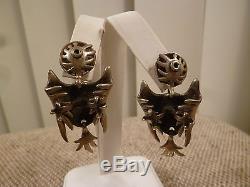 Vintage SALVADOR TERAN Sterling Silver BIRD EARRINGS Taxco, Mexico