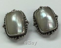 Vintage STEPHEN DWECK Sterling 925 Mother of Pearl Dotted Halo Clip On Earrings