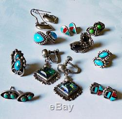 Vintage STERLING SILVER Turquoise Coral 10 Pair EARRINGS Jewelry LOT Some Signed