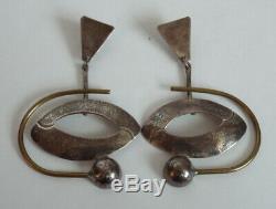 Vintage STERLING Silver Lg Modern Dangle Post Earrings 925 Mexico Modernist 19g