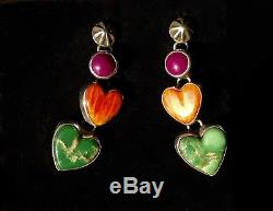 Vintage Santa Fe Navajo Dangling Hearts Multi Stone Sterling Turquoise Earrings