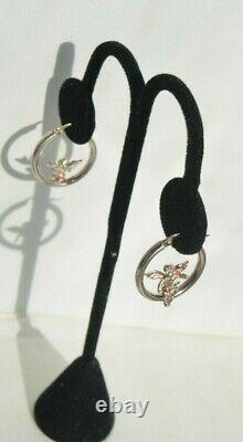 Vintage Signed AT Sterling Silver 925 Cupid Angel Arrow Hoop Snap Post Earrings
