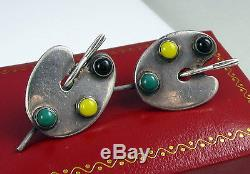 Vintage Signed F TORRES Taxco Mexico Sterling Silver Screw Back Pallet Earrings