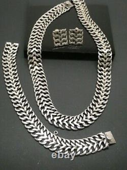 Vintage Signed Mexico Sterling Silver 925 Woven Necklace Earrings Bracelet Set