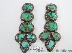Vintage Signed Native American Oscar Betz P Sterling Silver Turquoise Earrings