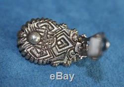 Vintage Signed STEPHEN DWECK Black Grey Tahitian Pearl Sterling Silver Earrings