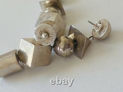 Vintage Signed Sterling Silver Modernist Geometric Ball Bead Dangle Earrings
