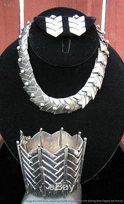 Vintage Signed Taxco Mexico Sterling Silver Los Castillo Chevron Design 4 Pc Set